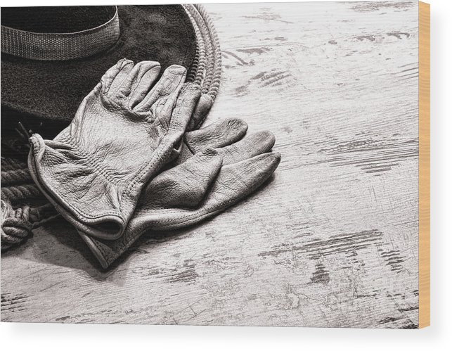 Western Wood Print featuring the photograph The Cowboy Gloves by Olivier Le Queinec