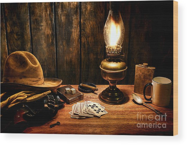 Cowboy Wood Print featuring the photograph The Cowboy Nightstand by Olivier Le Queinec