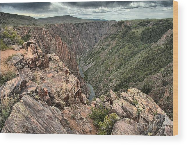Black Canyon Wood Print featuring the photograph The Edge Of Back Canyon by Adam Jewell