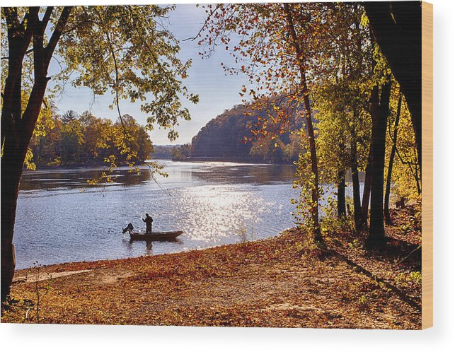 Bucks County Wood Print featuring the photograph The Fisherman by David Oakill