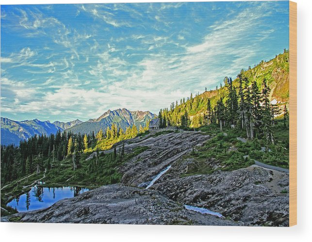 Mountain Wood Print featuring the photograph The Hut. by Eti Reid