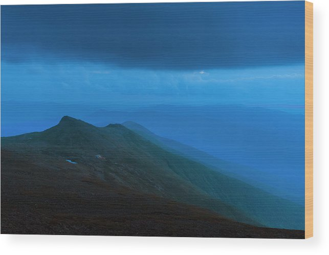 Evening Wood Print featuring the photograph The Lights Of Lake Of The Clouds Hut by Joe Klementovich