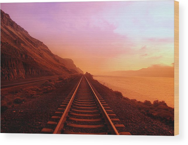 Columbia River Wood Print featuring the photograph The Long Walk To No Where by Jeff Swan