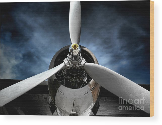 Plane Wood Print featuring the photograph The Mission by Olivier Le Queinec