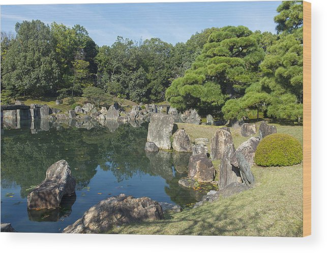 Kyoto Prefecture Wood Print featuring the photograph The Ninomaru Garden With A Pond At The Nijo
