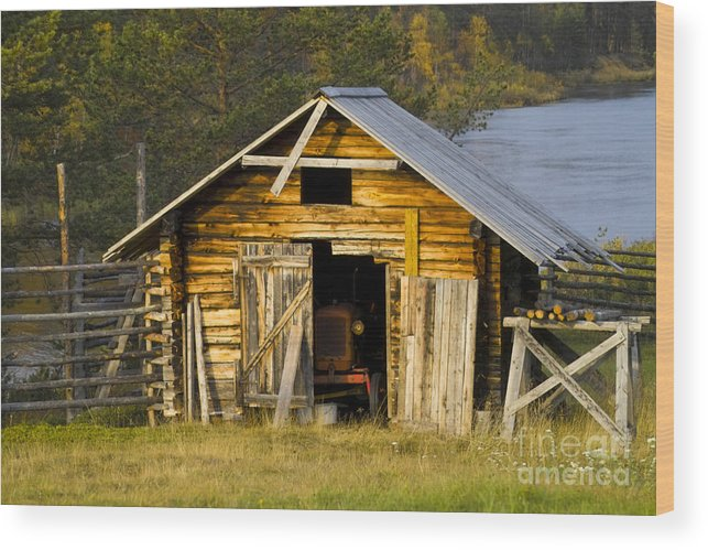 Heiko Wood Print featuring the photograph The Old Barn by Heiko Koehrer-Wagner