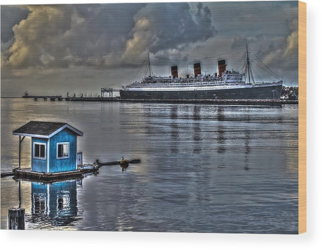 Waterfront Wood Print featuring the photograph The Queen Mary by Scott Utley