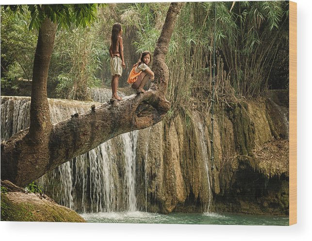 Waterfall Wood Print featuring the photograph The Rope Challenge by Thierry CHRIN