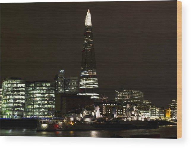 Shard Wood Print featuring the photograph The Shard And Southbank London by David Pyatt