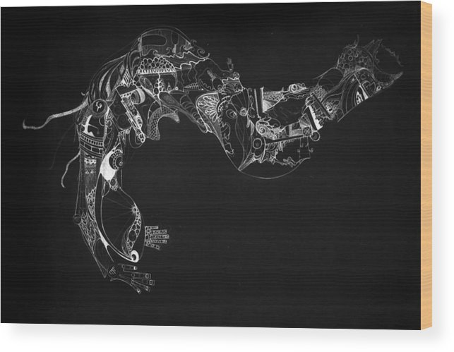 Digital Wood Print featuring the painting The Thought by Guillermo De Llera