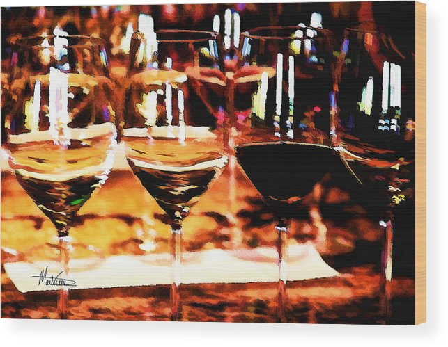 Wine Wood Print featuring the digital art The Toast by Marti Green