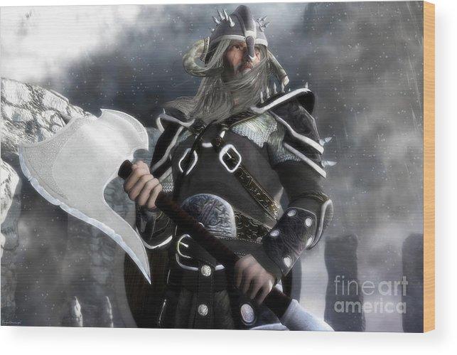 Viking Wood Print featuring the digital art The Viking by Gabor Gabriel Magyar - Forgottenangel