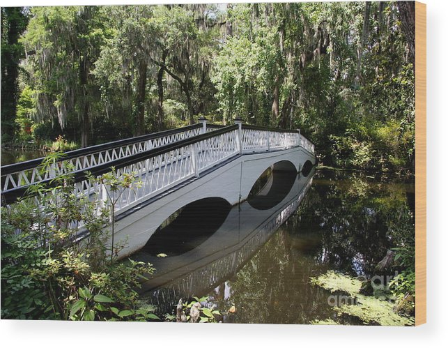 White Bridge Wood Print featuring the photograph The White Magnolia Plantation Bridge by Christiane Schulze Art And Photography