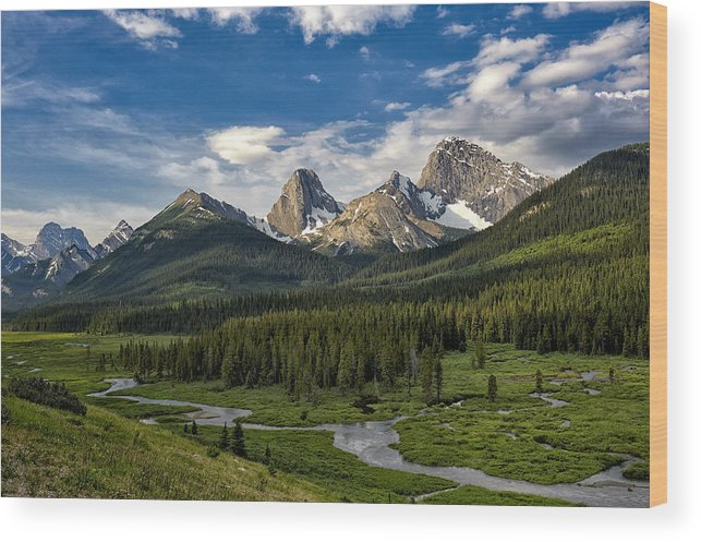 Alberta Wood Print featuring the photograph This Is Alberta No.27 - Spray Valley Peaks by Paul W Sharpe Aka Wizard of Wonders