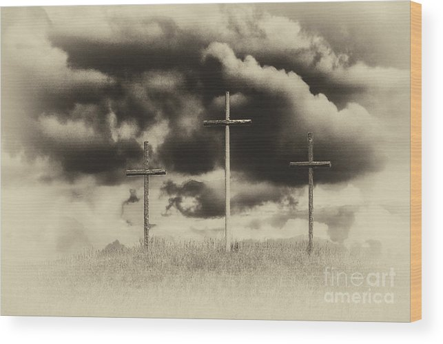Cross Wood Print featuring the photograph Three Crosses Sepia by Thomas R Fletcher