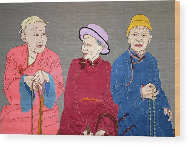 Textile Wood Print featuring the mixed media Three Mongolians by Leslie Rinchen-Wongmo
