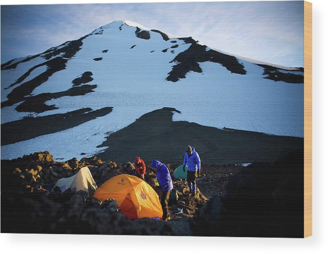 Alpine Wood Print featuring the photograph Three People Set Up Camp On Mount Adams by Kirk Mastin