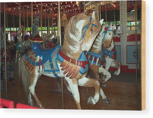 Carousel Wood Print featuring the photograph Three Ponies In White And Brown - Ct by Barbara McDevitt