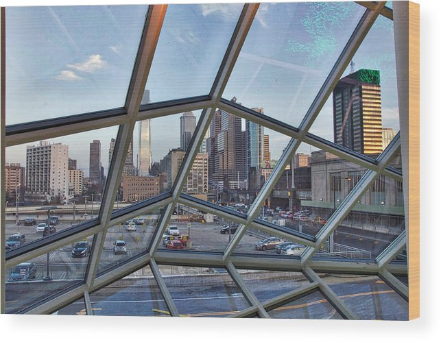 Philadelphia Wood Print featuring the photograph Through The Glass At Philly by Alice Gipson