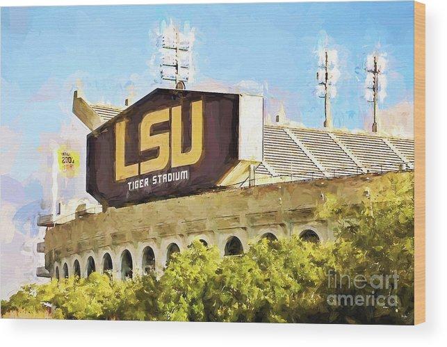 Lsu Wood Print featuring the photograph Tiger Stadium - Bw by Scott Pellegrin
