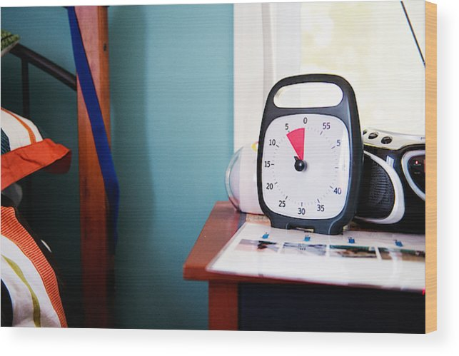 Time Timer Clock Alarm For Helping Autism And Down Syndrome In Daily Lives  Wood Print