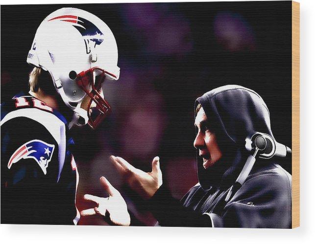 Tom Brady Wood Print featuring the digital art Tom Brady And Coach by Brian Reaves