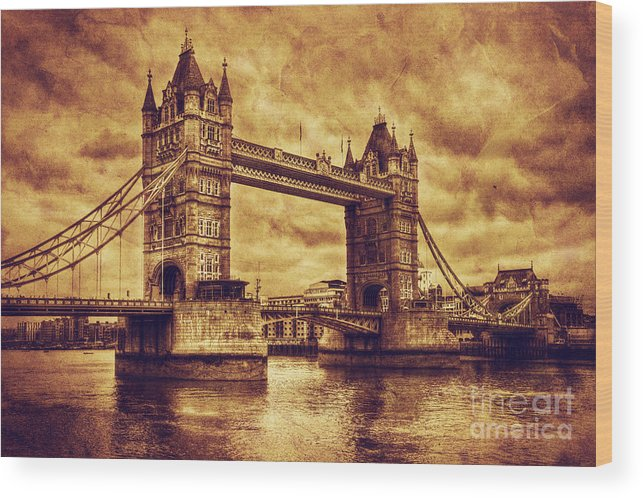 Tower Wood Print featuring the photograph Tower Bridge In London Uk Vintage Style by Michal Bednarek