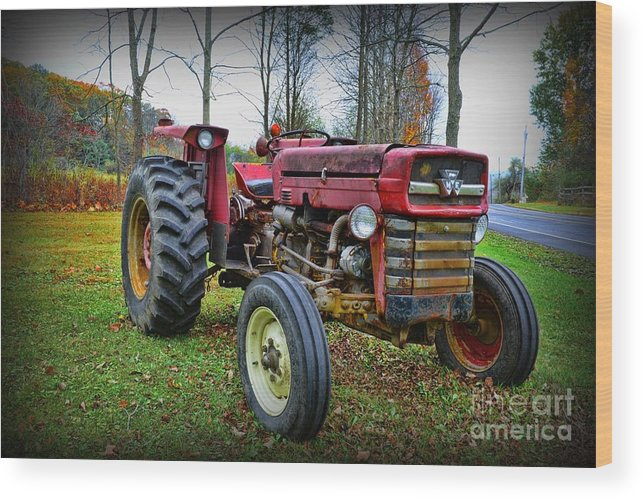 Paul Ward Wood Print featuring the photograph Tractor - The Farmers Car by Paul Ward