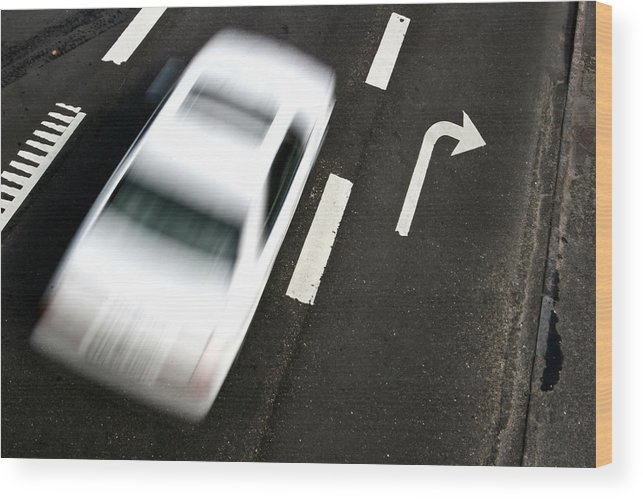 Automobile Wood Print featuring the photograph Traffic On A Street Of A Village With A Fast Car Passing Shot F by Jean Schweitzer