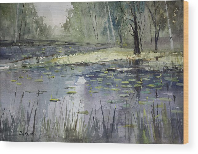 Landscape Wood Print featuring the painting Tranquillity by Ryan Radke
