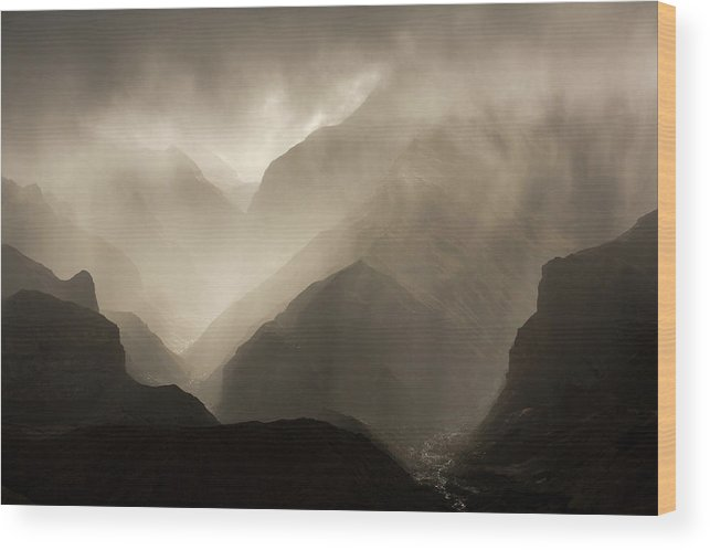 Clouds Wood Print featuring the photograph Translucent Rain Clouds Pour by David Stubbs