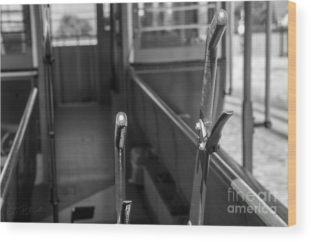 Iris Holzer Richardson Wood Print featuring the photograph Trolley 28 Leaver Black And White by Iris Richardson