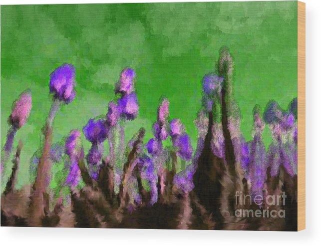 Flowers Wood Print featuring the digital art Tulips Abound Green Purple by Holley Jacobs