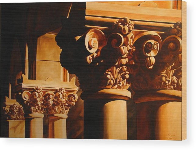 Corinthian Columns Wood Print featuring the painting Turn Of The Century by Keith Gantos