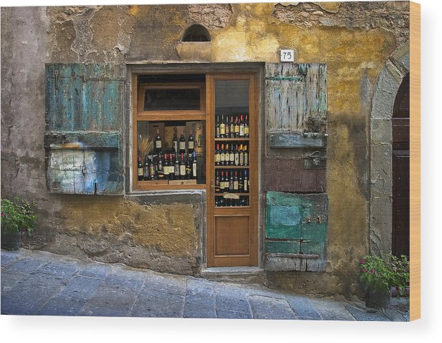 Italy Wood Print featuring the photograph Tuscany Wine Shop by Al Hurley