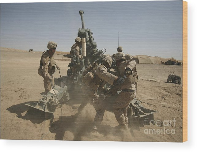Middle East Wood Print featuring the photograph U. S. Marines Ram A Satellite-guided by Stocktrek Images