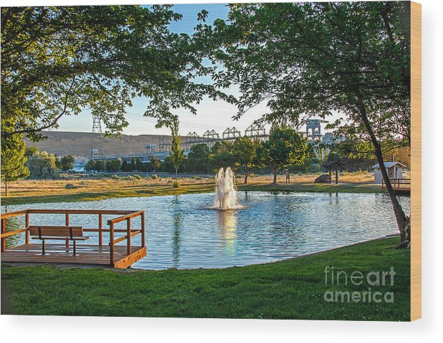 Pond Wood Print featuring the photograph Umatilla Fountain Pond by Robert Bales