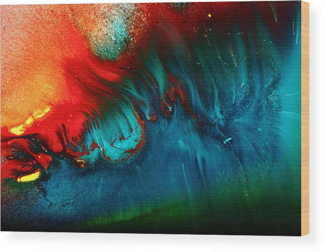Unique Abstract Burning Underwater Volcano By Kredart Wood Print
