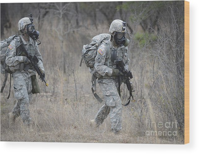 Georgia Wood Print featuring the photograph U.s. Soldiers Don Chemical Warfare Gear by Stocktrek Images