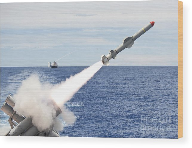 Japan Wood Print featuring the photograph Uss Cowpens Launches A Harpoon Missile by Stocktrek Images