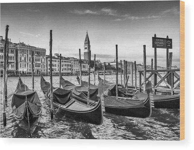 Ancient Wood Print featuring the photograph Venice Grand Canal And Goldolas In Black And White by Melanie Viola