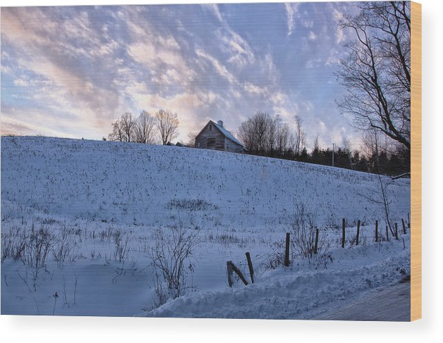 Sunset Lake Road West Brattleboro Vermont Wood Print featuring the photograph Vermont Winter Hill by Tom Singleton