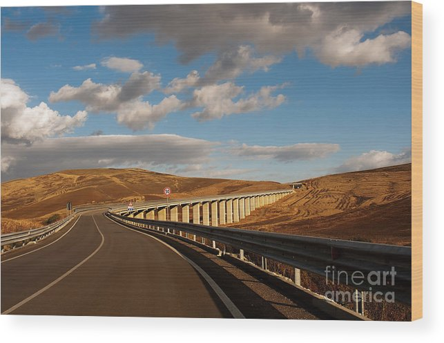 Viaduct Wood Print featuring the photograph Viaduct In The Sicilian Countryside by Bruno D'Andrea