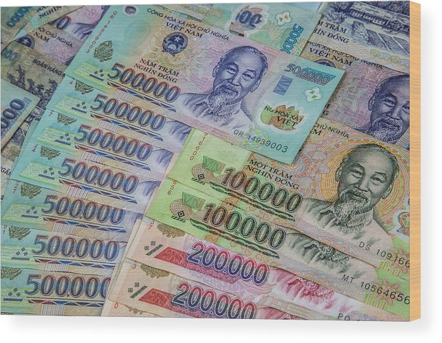 Vietnamese Currency - The Dong (vnd) - Multiple Bank Notes Wood Print