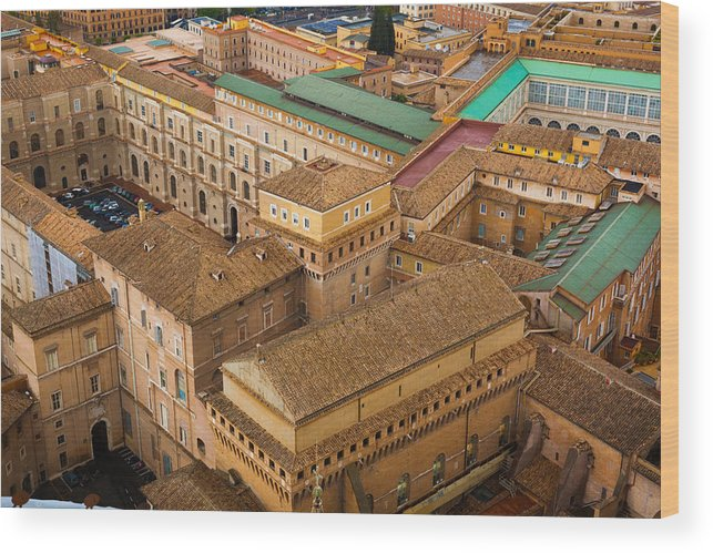 Christianity Wood Print featuring the photograph View Above Downtown Of Rome by Alex Anashkin