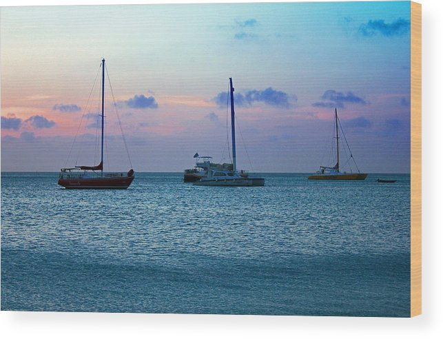 Aruba Wood Print featuring the photograph View From A Catamaran3 - Aruba by Carolyn Stagger Cokley