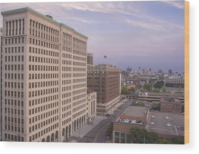 Detroit Wood Print featuring the photograph View From Fisher Building by John McGraw
