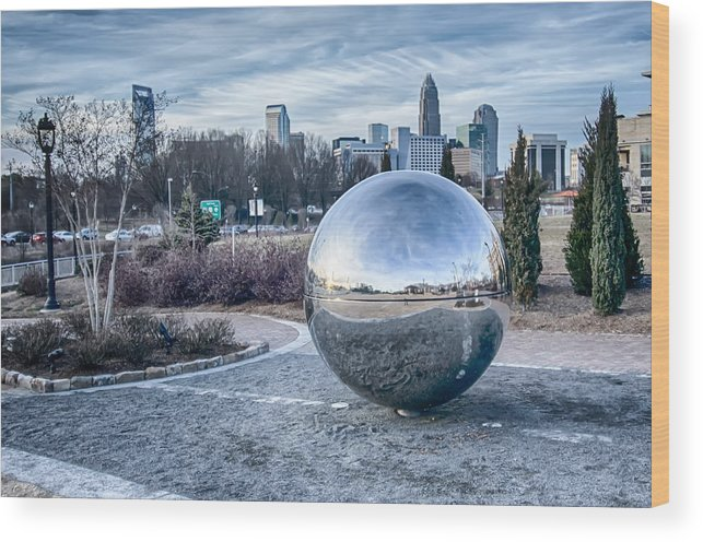 View Of Wood Print featuring the photograph View Of Charlotte Nc Skyline From Midtown Park by Alex Grichenko