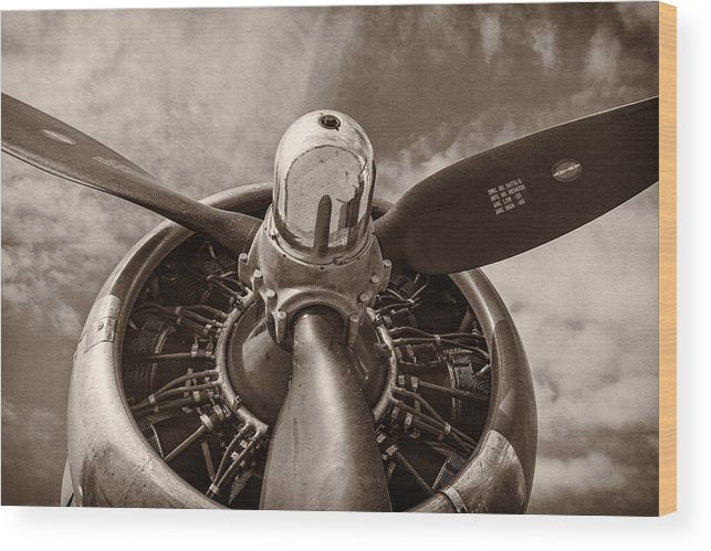 3scape Wood Print featuring the photograph Vintage B-17 by Adam Romanowicz