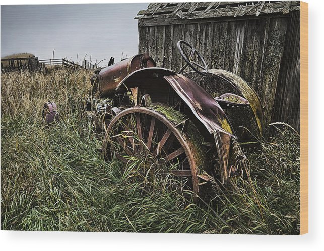 Massey Ferguson Wood Print featuring the photograph Vintage Farm Tractor Color by Theresa Tahara
